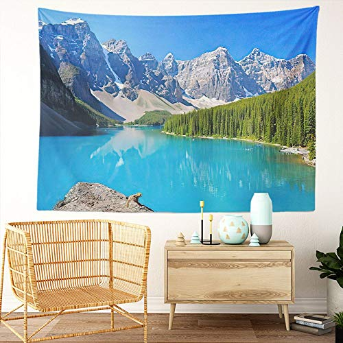 Y·JIANG Canada Landscape Tapestry, Lake Moraine AB Canada Banff Idyllic Home Dorm Decorative Large Tapestry, Wide Wall Hanging Blanket for Living Room Bedroom, 80 x 60 inches
