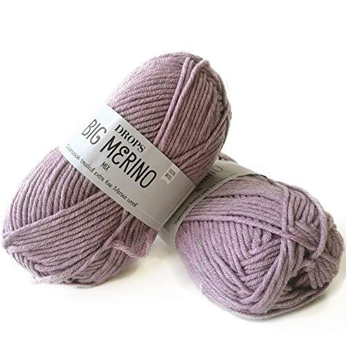 Superwash Merino Wool Yarn Drops Big Merino, 4 or Medium, Aran Weight, 1.8 oz Ball - 82 Yards (09 Lavender)