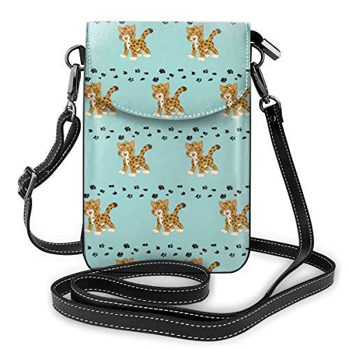 Handy Geldbörse Crossbody Süße Baby Ja-Guar Frauen Pu Leder Mode Handtasche mit verstellbarem Riemen