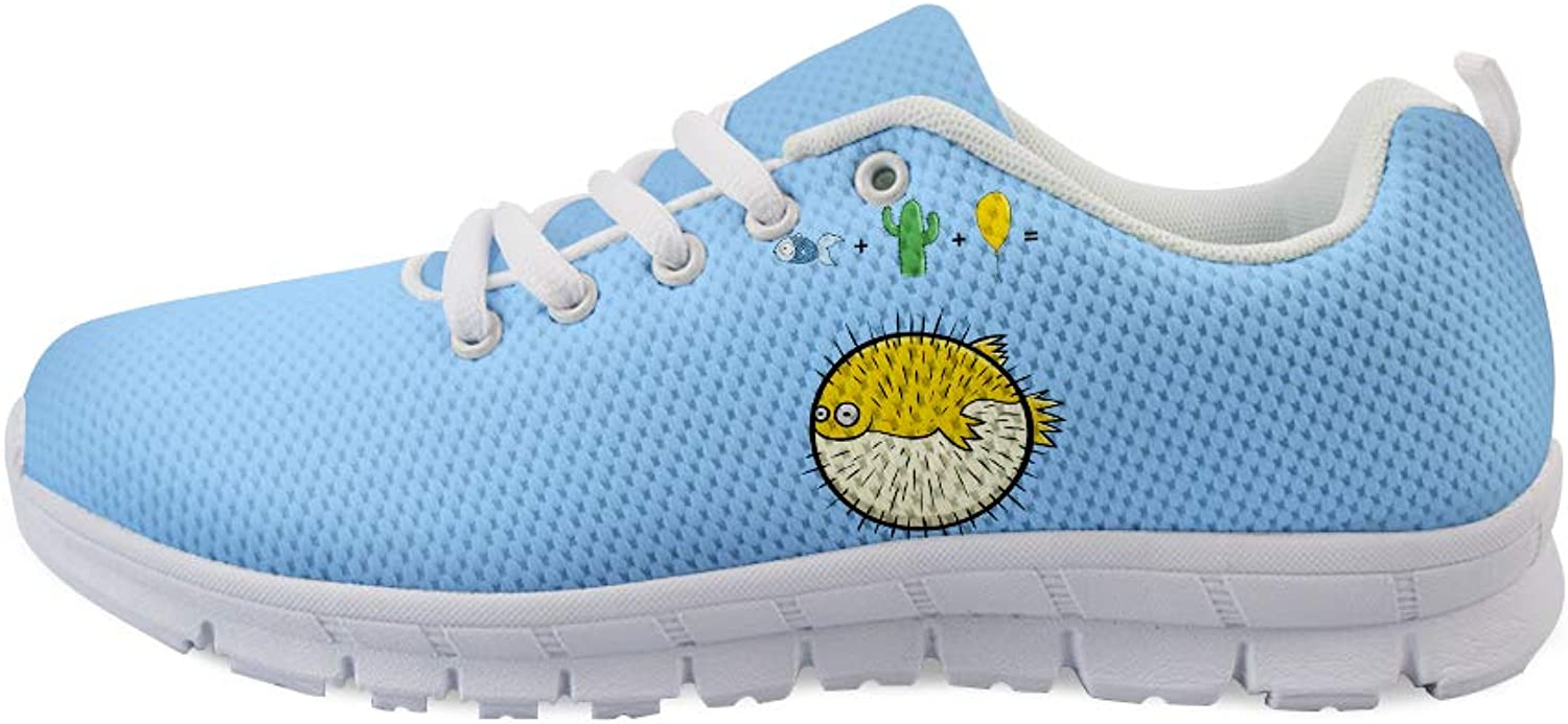 Owaheson Lace-up Sneaker Training shoes Mens Womens Blowfish Puffer Fish Synthetic Formula