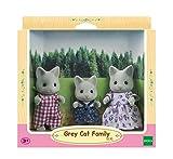SYLVANIAN FAMILIES- Grey Cat Family Mini muñecas y Accesorios, Multicolor (Epoch 5130)
