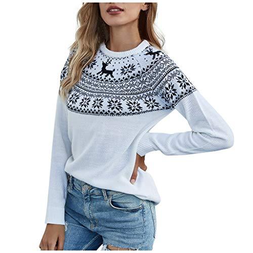 EUCoo Maglione da donna casual O-Neck maniche lunghe Natale fiocco di neve stampa Fawn (W) bianco XL