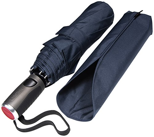 LifeTek Compact Travel Umbrella with Windproof Double Canopy Construction - Auto Open and Close Button Portable & Strong Traveler FX2 45 inch Navy Blue