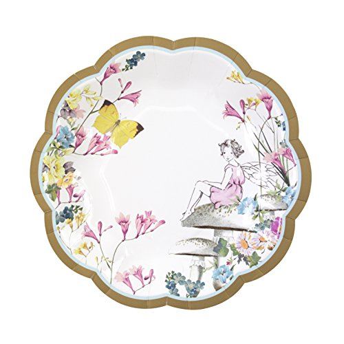 Talking Tables Pack of 12 Flowers and Butterfly Paper Plates | for Girls Birthday Party-Cute and Pretty Design, Fairy Scallop PLTE PK12