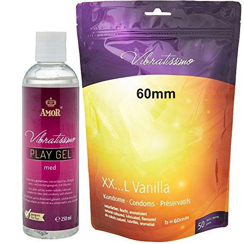 Vibratissimo Markenkondome Vorteilspack, 50 XXL-Kondome 60mm + 250ml Gleitgel