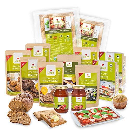 Lizza Low Carb Set | Bis zu 94% weniger Kohlenhydrate | Keto, Atkins & Diabetikerfreundlich | Bio. Glutenfrei. Vegan. | Brot, Pizza, Tomatensauce, Toasties, süße Backmischung