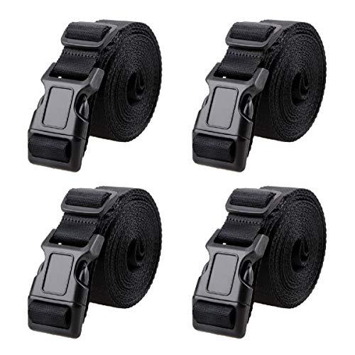 Azarxis Correas de Amarre Cinturón con Hebilla Longgitud Ajustable Cinchas de Sujeción de Carga Bandas de Fijación para Portabicicletas (Negro - 3m)