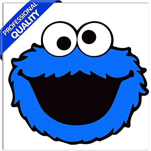 SkinoEu® 2 x PVC Laminado Pegatina Adhesivos Cookie Monster Plaza Sésamo para Autos Coches Motos Ciclomotores Bicicletas Ordenador Portátil Regalo B 138