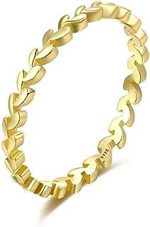 S925 placcato argento 14K oro lucido anello femminile semplice ramo di ulivo anello di torsione