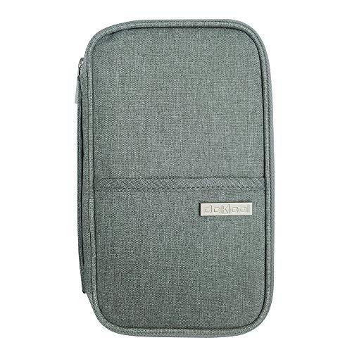 doKool Reisepass Tasche, Reisepasshülle Familien Reise Brieftasche Pass Hülle Praktische und Geräumige Reisemappe für All Ihre Dokumente, Karten, Tickets (Grau)