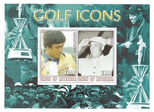Golf Icons Briefmarkenbogen mit 2 Briefmarken mit Seve Ballesteros und Ben Hogan - Mint - 2001 / Myanmar