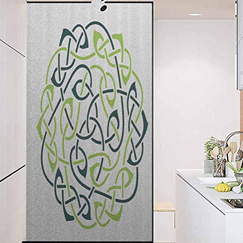 wonderr Static Cling Stained Glass Film Stained Glass Window Sticker, Celtic Decor Collection Digital Large Celtic K, Easy to Install and Reuse Glass Film, 35.4' Wx78.7' Linches