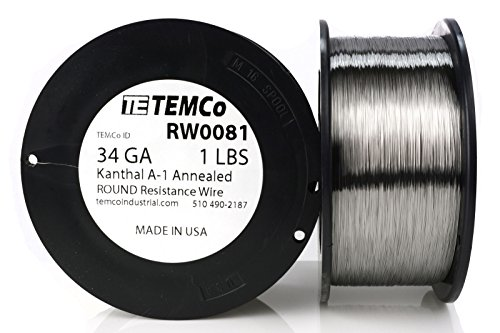 TEMCo Kanthal A1 wire 34 Gauge Resistance AWG A-1 ga