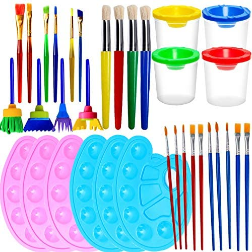 VEYLIN Paint Brush Set Washable Painting Tools Set Include Paint Cups Muti Style Paint Brushes product image