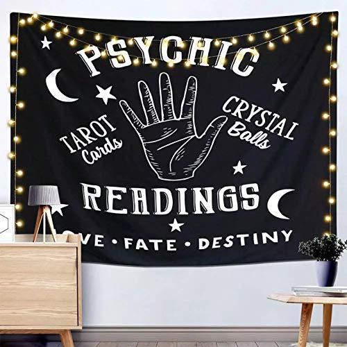 RTEAQ Tapiz psicodélico de Luna Blanca y Negra, Tapiz Hippy, Tapiz de Tela para Colgar en la Pared, alfombras de Pared, Tapiz de Pared Witchcraf-59x79inch(150x200cm)