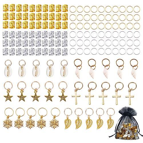 Dreadlocks Perle, 150 Pièces Accessoires de Tresse Poignets en Aluminium Bijoux de Cheveux pour Adultes Enfants Décorer des Tresses Queues de Cheval Extensions de Cheveux