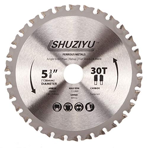 LSHUZIYU 136mm-30T, Centre hole 20mm with 15.88-10mm Washer. Circular Saw Blade for Cordless Saw Like Makita and Milwaukee, Ferrous Metal, Steel Iron Bar, Sheet, Angle Cutting