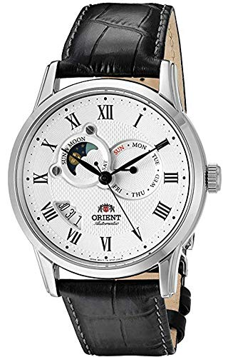 """Orient Classic""""Sun and Moon"""" Automatic White Dial Men's Watch (Model:FET0T002S0)"""