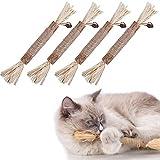 HONGBOZHIXUAN 4 Piezas Juguetes para Gatos Morder,Palitos de Catnip para Gatos,Sticks para Gatos,Palitos de Hierba Gatera,Catnip Toys,Catnip para Gatos Hierba,Juguetes con Hierba Gatera para Gatos