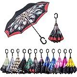 ABCCANOPY Parapluie inversé, double couche, inversé, coupe-vent, pour une utilisation en extérieur et pour la voiture, UPF 50 + grande tige avec poignée en forme...