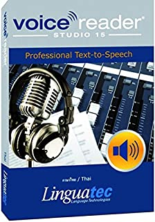 Voice Reader Studio 15 ภาษาไทย / Thai – Professional Text-to-Speech Software (TTS) for Windows PC / Convert any text into audio / Natural sounding voices / Create high-quality audio files / Large variety of applications: E-learning; Enrichment of training documents or advertising material; Traffic announcements, Telephone information systems; Voice synthesis of documents; Creation of audio books; Support for individuals with sight disability or dyslexia / This version contains one female voice.