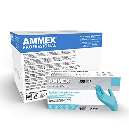 AMMEX Blue Nitrile Exam Gloves, Case of 1000, 3 Mil, Size Medium, Latex Free, Powder Free, Textured, Disposable, Non-Sterile, Food Safe, APFN44100
