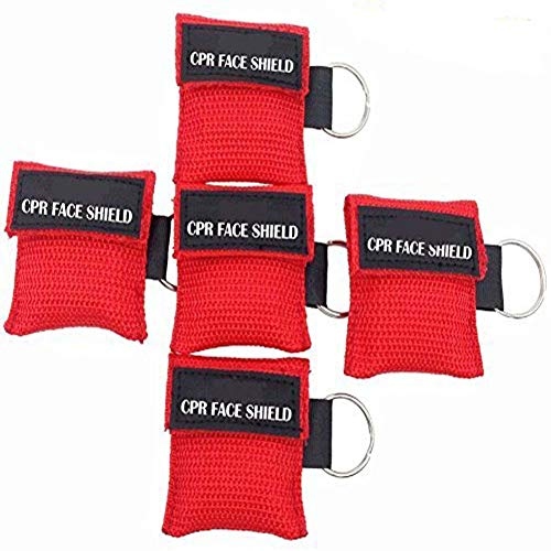 Pack of 5pcs CPR Mask Keychain Ring Emergency Kit Rescue Face Shields with One-Way Valve Breathing Barrier for First Aid or AED Training (Red)