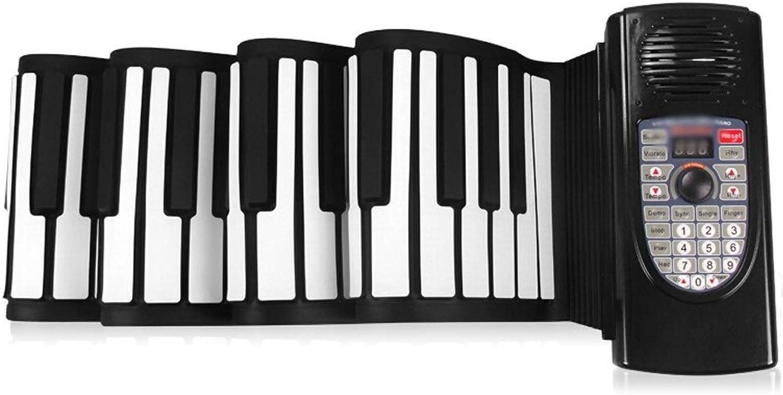 LIUFS-Tastatur Hand Rolle Piano 88 Schlüssel Professionelle Version Tragbarer Gürtel Falten Erwachsene Kinder MIDI Tastatur Lithium-Batterie + Blautooth (Farbe   Schwarz)