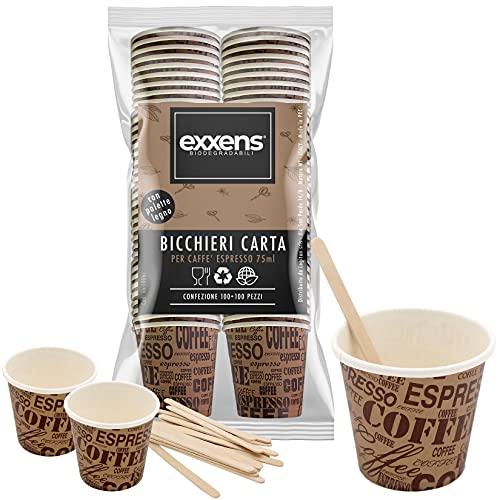 100 Pz Bicchierini Caffe Carta Espresso Tazzine Biodegradabili 75ml + 100 Pz Palettine Legno Monouso (marrone)
