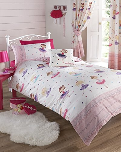 Kids Club Ballerina Pink Single Duvet Cover and Pillowcase Set Girl's Children's Bedding, Cotton and Polyester, Multicoloured