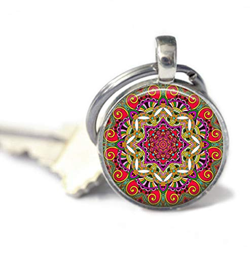 because meet you Red Mandala Keychains,Key Ring, Gifts for her, Key Fob