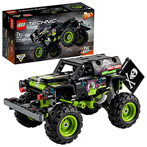 LEGO42118TechnicMonsterJamGraveDigger,Modelo2en1,CamióndeJugueteoOff-RoadBuggy,SetdeConstrucción