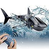 Pristar Mini RC Tiburón Teledirigidos Recargable Simulado Tiburones Juguetes Control Remoto 2.4GHz Bajo el Agua Eléctrico Tiburón Peces Barcos Piscina de Juguete Baño Nadando para niños, Negro