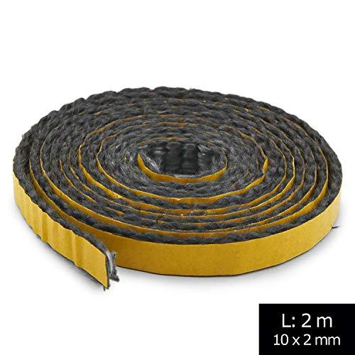 Junta autoadhesiva para chimenea, 2 m, diámetro 10 x 2 mm, cordón plano Apto para diferentes modelos de chimenea Haas + Sohn.