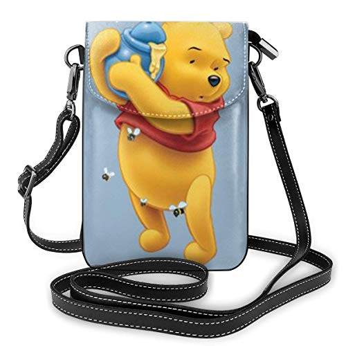 Winnie the Pooh - Tarro de abeja ligero y pequeño, bolsa cruzada de cuero para teléfono celular, bolsa de viaje, bolsa de hombro con ranuras para tarjetas de crédito para mujeres