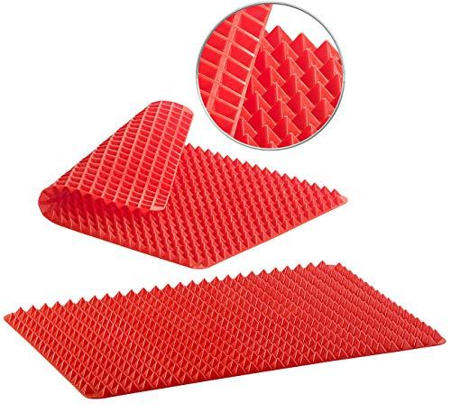 Rosenstein & Söhne Backofenmatte: 2er-Set Silikon-Backmatten mit Pyramiden-Noppen, antihaftbeschichtet (Silikon Backofenmatte)