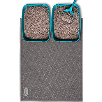 Pawkin Cat Litter Mat Jumbo XX-Large 4x3 Feet Fits Two Litter Boxes or Extra Coverage for One Box Gray