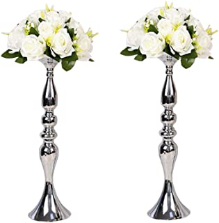 LANLONG 2 Pieces 50cm Height Metal Candle Holder Candle Stand Wedding Centerpiece Event Road Lead Flower Rack (Silver x 2) (Silver, 19.6