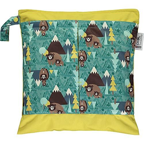 Close Pop-In wasserdichte Feuchttasche für Stoffwindeln, Babywindeln, waschbar, wiederverwendbar, 37 x 32,5 cm, für ca. 5 Windeln, bedruckt mit Bär