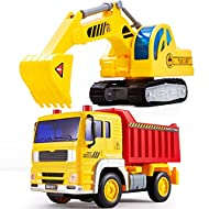 HERSITY Diggers and Dumpers Toys Construction Vehicles Set Engineering Car Truck with Lights and Sou...