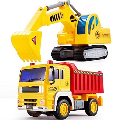 HERSITY Sandkasten Bagger Kipper Spielzeug, Baufahrzeuge Kinder mit Sound und Licht, Fahrzeuge LKW Sandspielzeug, Auto Kinderspielzeug Geschenk für Jungen Mädchen 3 4 5 Jahren
