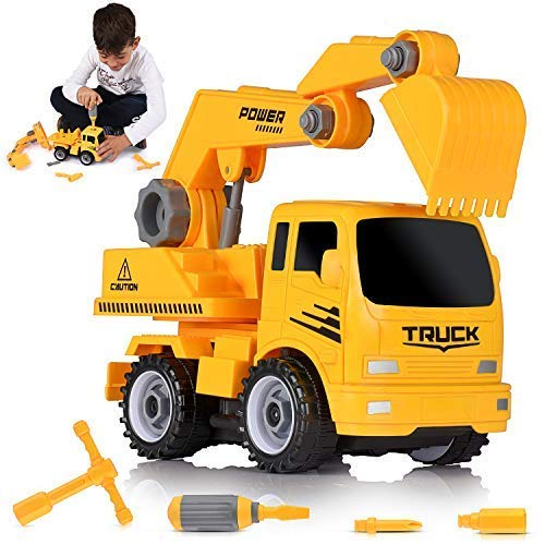 Ultimate Take-A-Part Construction Truck Toy Friction Powered Vehicle 2-In-1 Building Set | Fun Educational Build Take Apart Car Playset For Kids | Engineering Toys For Children | 3 Assembly Tools Kit