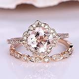 Tripmark Jewelry 2PCS Rings 18K Rose Gold Plate Morganite& White Topaz Ring Set Women Bridal Wedding (9)