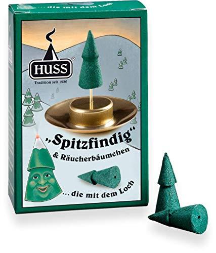 Huss - Spitzfindig - Räucherbäumchen mit Halterung (24 Räucherkerzen)