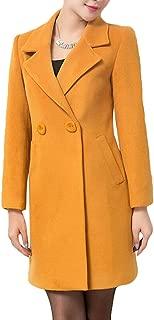 Women's Basic Woolen Overcoat Double-Breasted Outdoor Long Trench Coat