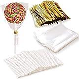 Newk 1000 PCS Lollipop Set Including 100 Pack Lollipop Treat Sticks, 100 Pieces of Lollipop Parcel Bags, and 800 Pieces of Wire Lines