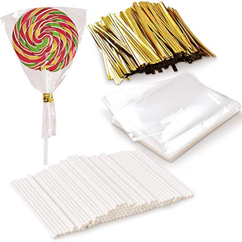 Newk Juego de 1000 palillos de piruleta, incluye 100 unidades, 100 bolsas de paquetes de piruletas y 800 piezas de líneas de alambre