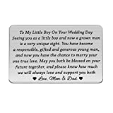 BLEOUK to My Son Gift Son Wedding Gift from Parents Mom Groom Gift Son Gifts Mom to Son Gifts Touching Mother to Son Poem Gift Son Wedding Wallet Card Gift (to My Little boy Card)