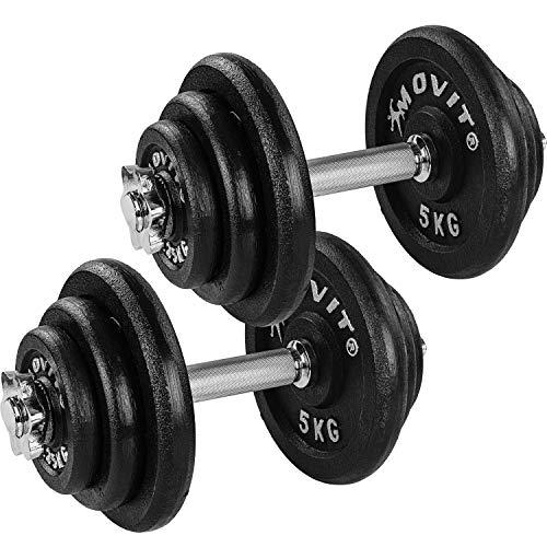 Movit® Kurzhantel PRO Set, Gusseisen Hantel, 2X 20kg, Stange 30mm Standardnorm, Griff gerändelt, Sternverschlüsse, Hantel Set Kurzhantelset Gewichte