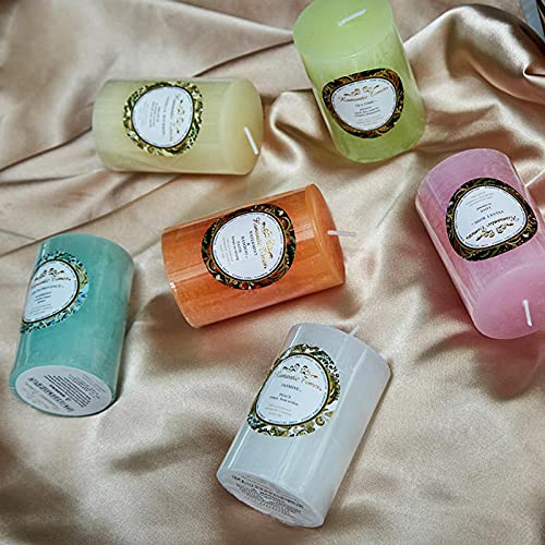 zzjj 6 pequeñas Velas cilíndricas de Aceite Esencial de Plantas,Velas de aceites Esenciales de Plantas Naturales,Velas perfumadas,Velas perfumadas IKEA sin Humo,Velas perfumadas perfumadas,hogar